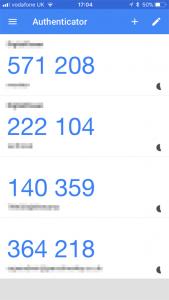 Image 1: Google Authenticator main interface