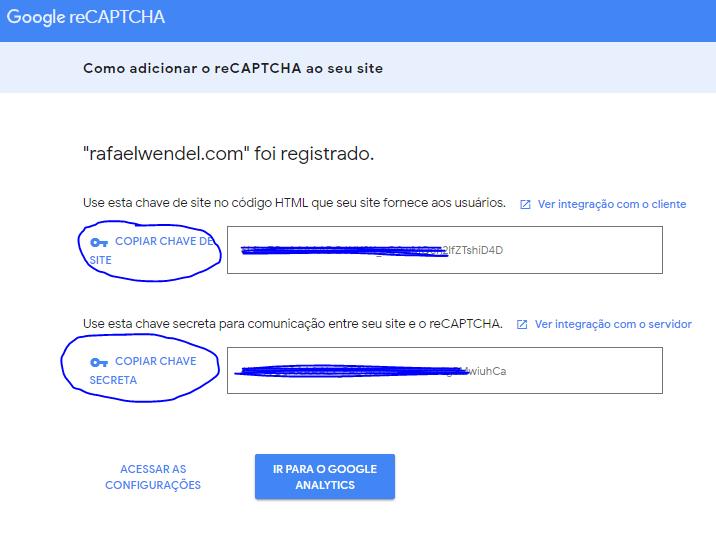 Image 2: reCAPTCHA Site Key and Secret Key